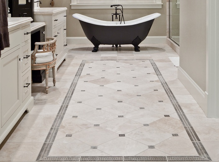 Bathroom Decor Ideas With Simple Vintage Bathroom Floor Tile Pattern