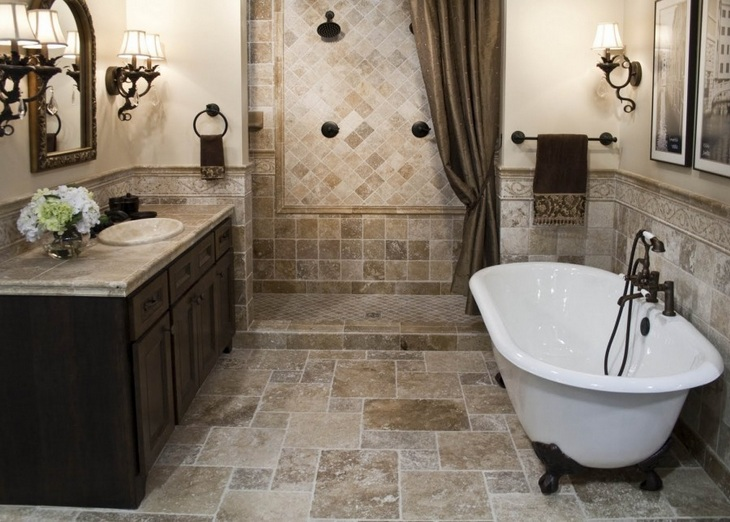 Vintage bathroom floor tile ideas before you start your for Brown tile bathroom ideas