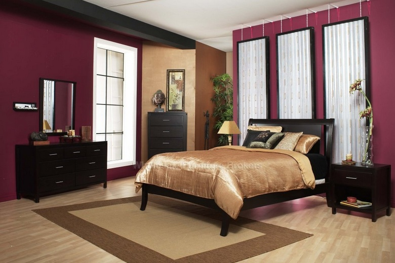 Violet red bedroom colors with black furniture for Red bedroom furniture