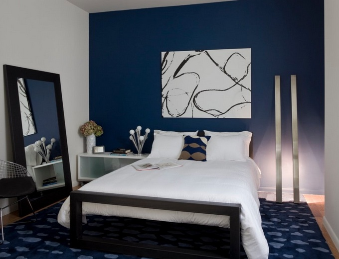 White And Dark Blue Color Ideas On Simple Bedroom Decoration