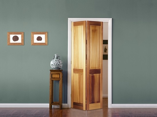 Wooden Bifold Bathroom Doors For Small Es With 2 Panel