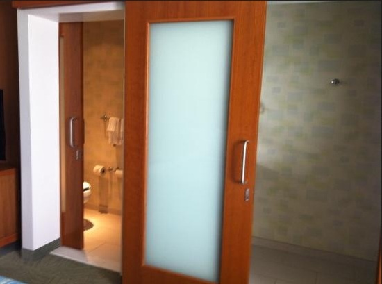 Wooden Sliding Bathroom Doors For Small Es With Frosted Gl