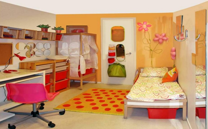 Double Bed Kids Bedroom Ideas With Open Shelves Decolovernet