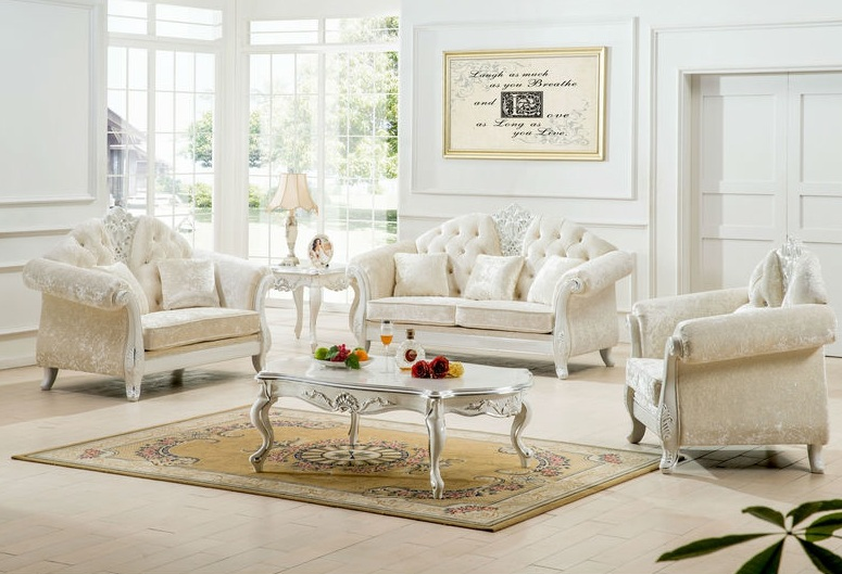 Antique white living room furniture ideas for Antique living room decorating ideas