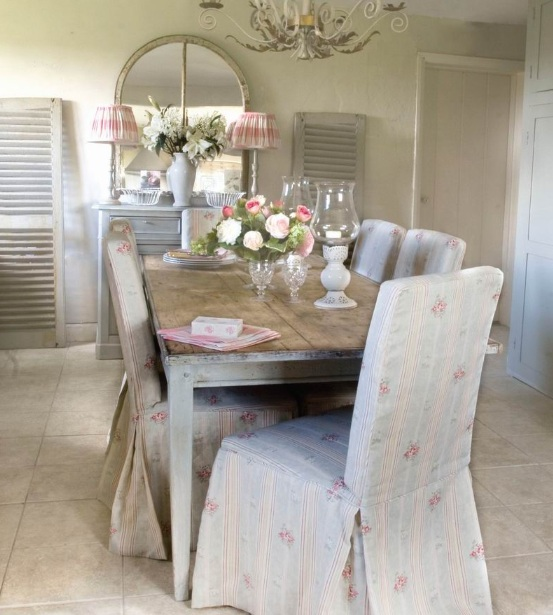 shabby chic dining room chair covers | Shabby chic country industrial dining room chair ...