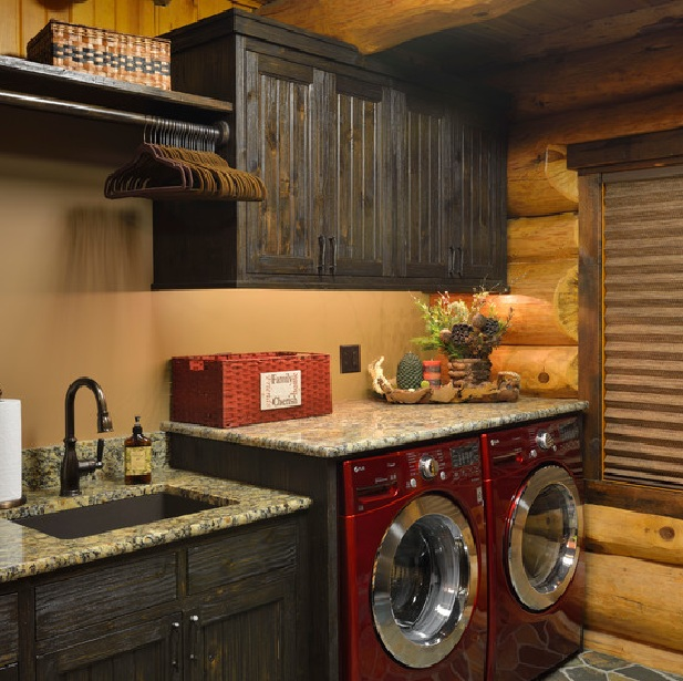 rustic laundry room decor with natural cherry cabinets