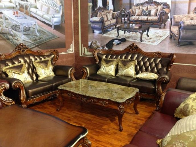 Black Leather Living Room Set With Victorian Design