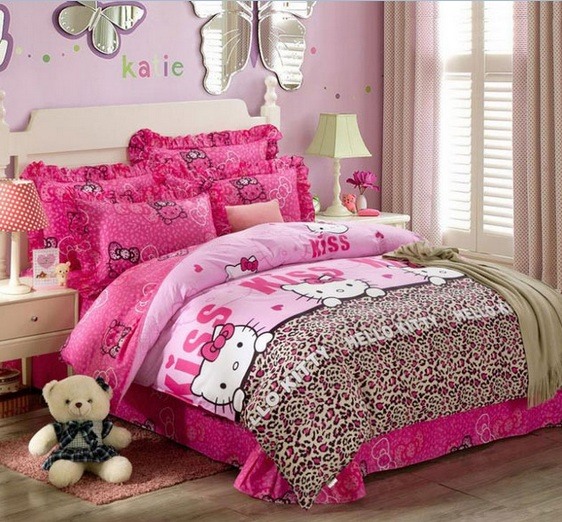 Brown Curtain And Furniture Hello Kitty Bedroom For