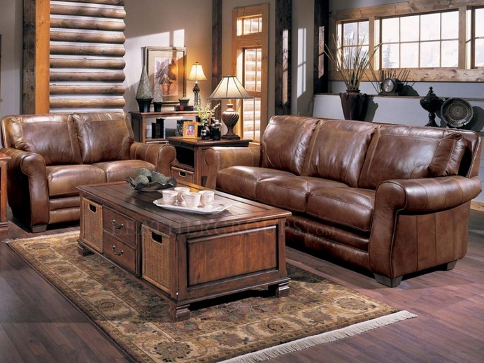 Brown leather living room set with classic wooden table for Leather living room sets