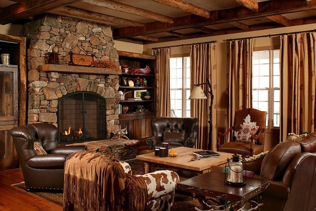 brown leather sofa for country style living room. Black Bedroom Furniture Sets. Home Design Ideas