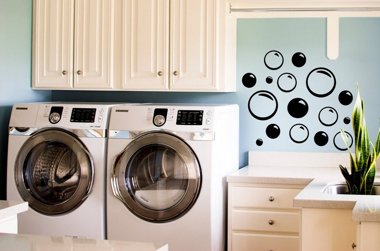 Bubble wall decal for laundry room wall decor ideas | Decolover.net