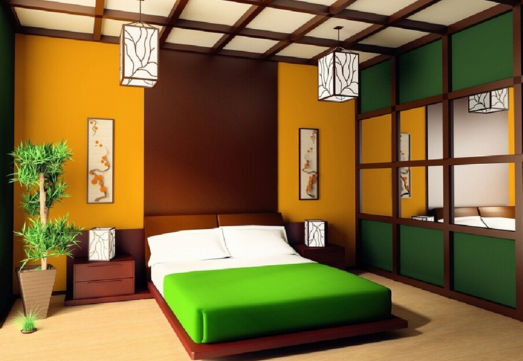 Colorful japanese bedroom style with big mirror - Japan small room design ...