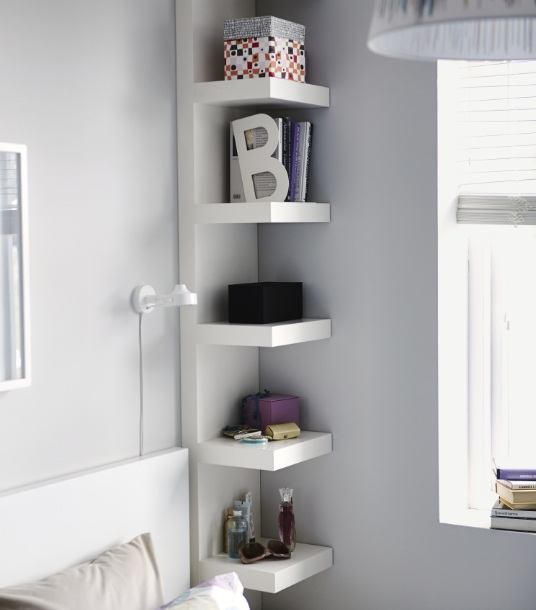 Corner shelves bedroom diy organization ideas | Decolover.net