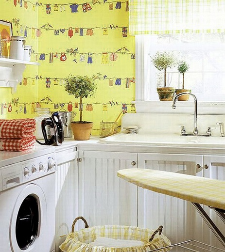 Creative wall sticker pattern for laundry room decor ideas Creative wall decor ideas