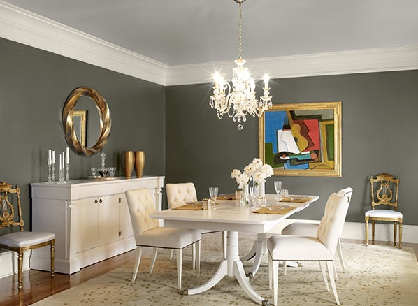 Dark Grey Dining Room Paint Colors With White Furniture