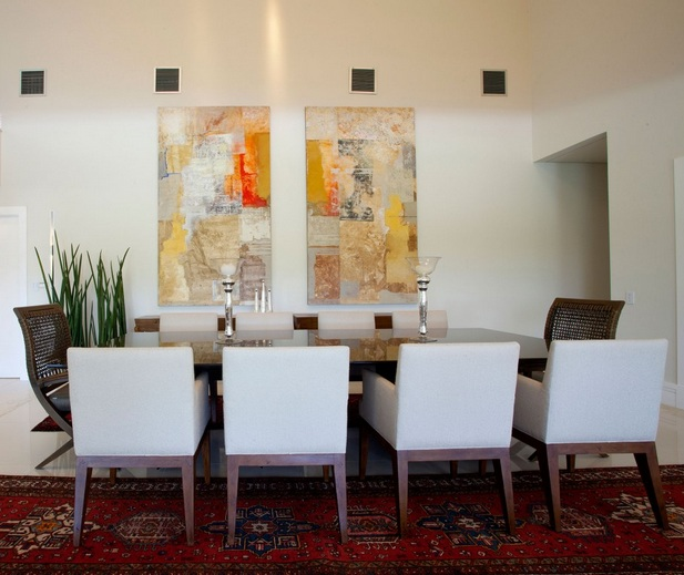 Wall Design In Dining Room : Dining room wall decor with abstract art painting