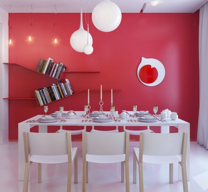 Dining room wall decor with red painting and wall shelves for Wall art ideas for the dining room