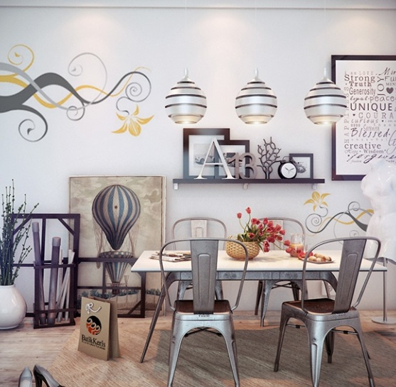 Dining room wall decor with abstract wall art painting for Wall decor ideas for dining area