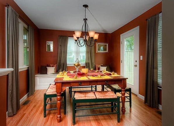 Beautiful Elegant Custom Red Dining Room Paint Colors With Bench
