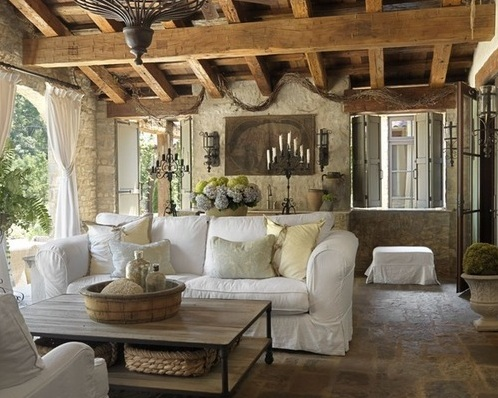 Farmhouse Living Room Decorating With White Sofa And Vintage Standing  Chandelier Part 31