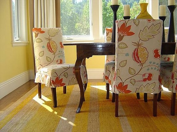 Floral Cream Dining Room Chair Slipcovers Without Arms