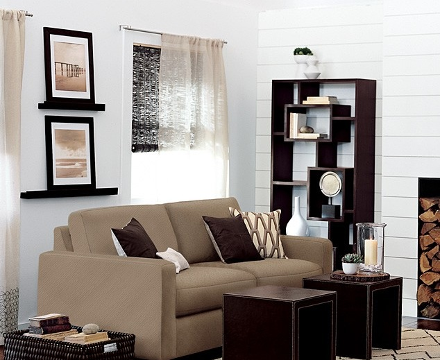 Shelf Decorating Ideas Living Room: Free Standing Living Room Shelves In Dark Brown Color