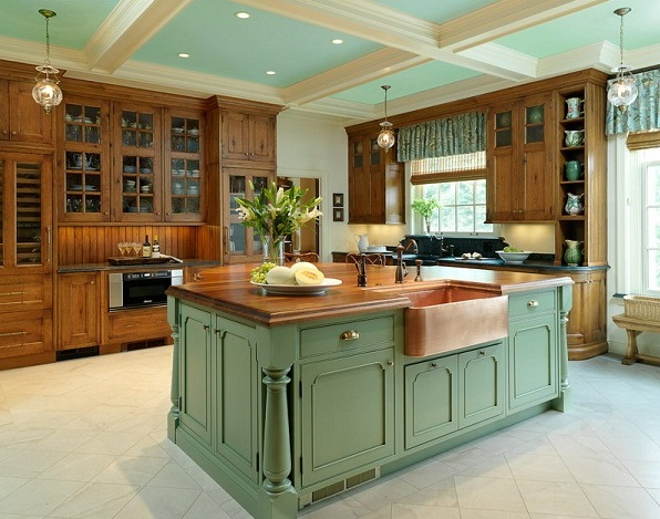 French country kitchen decorating with painted island for French kitchen design