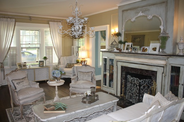 French Country Style Living Room With Fireplace