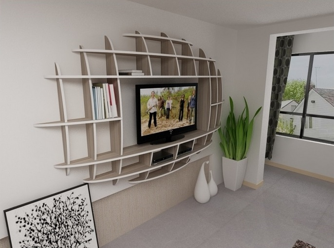 Impressive design of wall shelves tv units for living room for Shelves for living room decorations