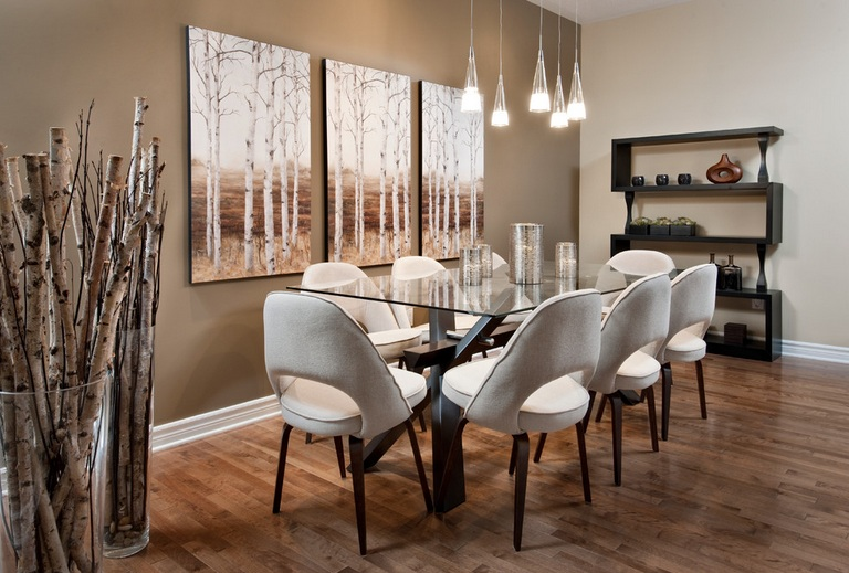 impressive dining room wall decor with brown paint and modern wall art