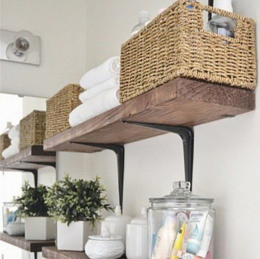 Wall Shelves And Cabinet With Door From Ikea As Laundry Room Storage