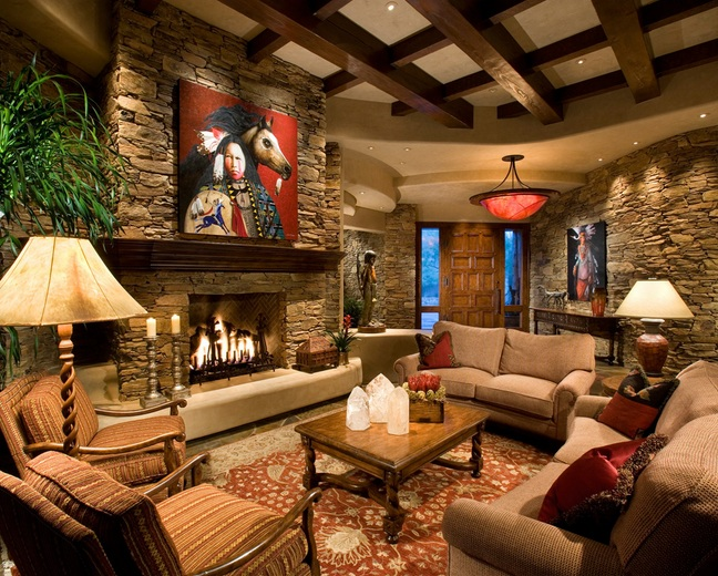 interior stone wall in country style living room