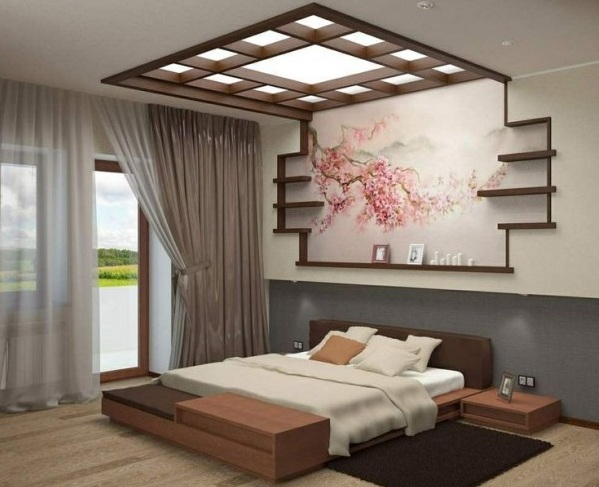 Colorful Japanese Bedroom Style With Big Mirror