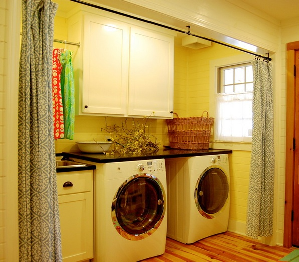 Golden yellow laundry room curtains for curtain divider for Country laundry room curtains