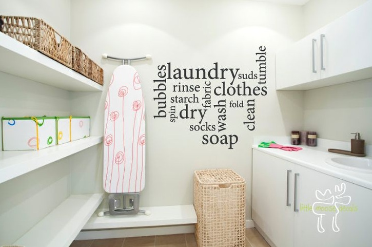 Laundry room wall decor ideas with vinyl wall decal quote - Laundry room wall ideas ...