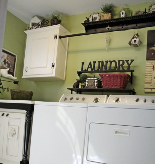 Laundry Room Wall Decor With Custom Decorative Shelf