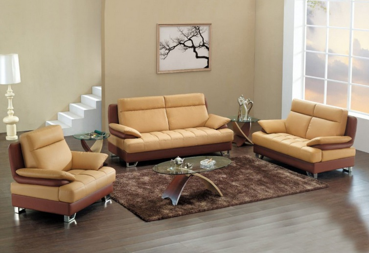 Captivating Modern Tan Leather Living Room Set With Glass Table And Other Related  Images Gallery: Part 14