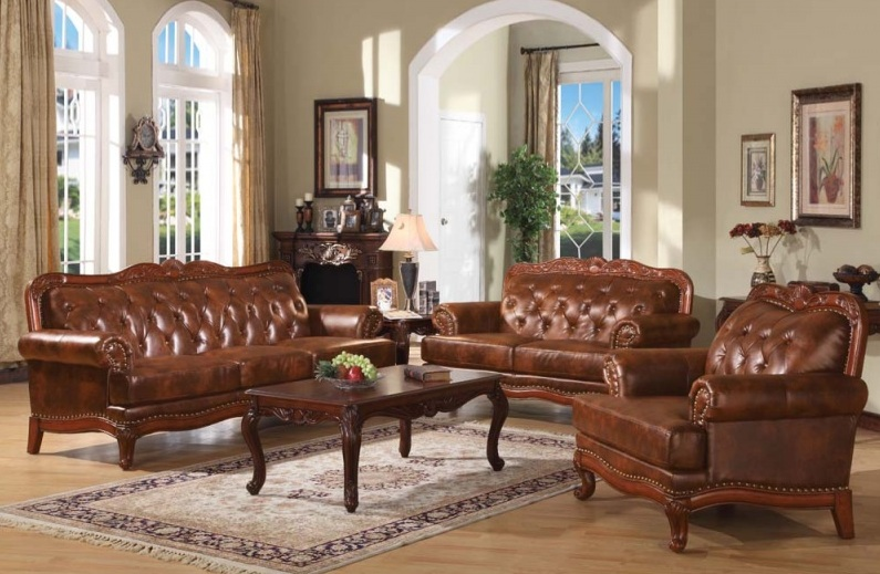 Leather living room set with traditional multi tone dark for Dark brown living room set