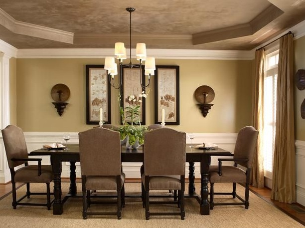 Delightful Light Brown Dining Room Paint Colors With Classic Furniture