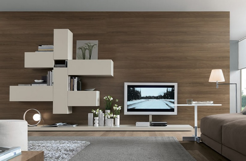 living room with open wall system shelves furniture decolover net