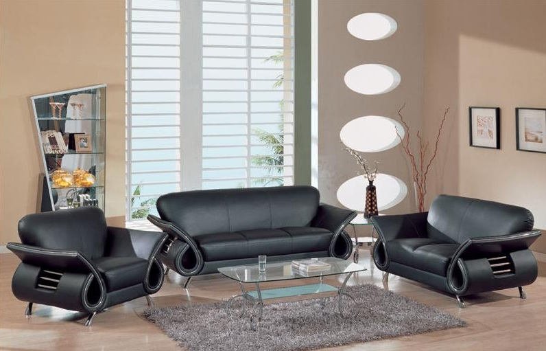 Black leather living room set modern house for Black living room set