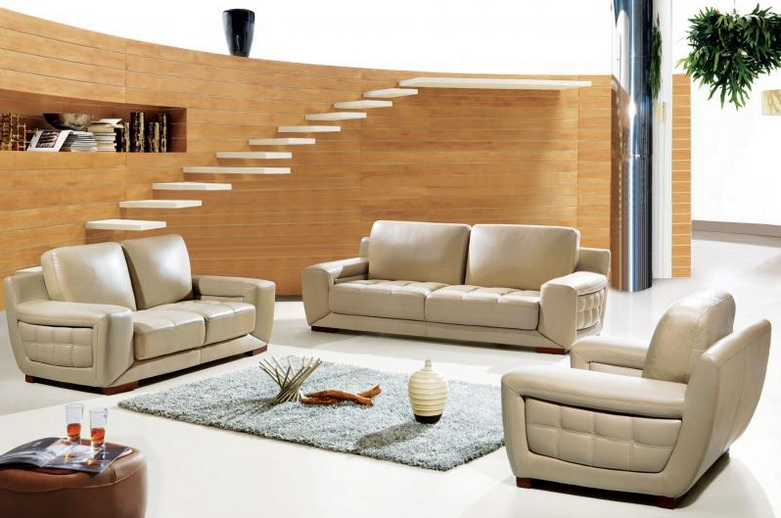 Modern Light Brown Leather Living Room Set Design