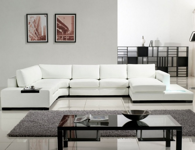 Modern sectional white living room furniture