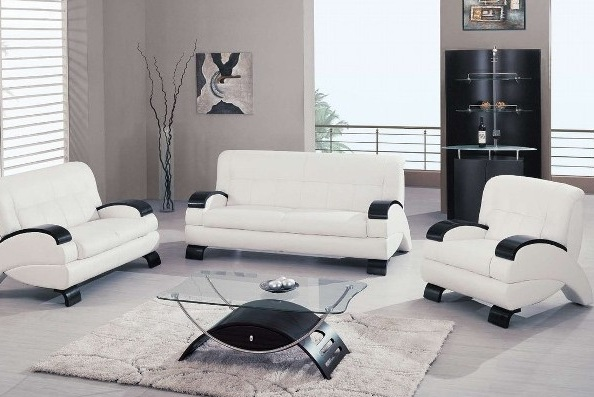 Modern white living room furniture with glass table for Glass living room table