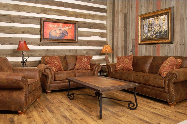 Old wooden wall panels for country style living room decor for Country western living room ideas