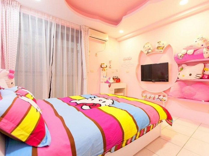 Hello Kitty Room Design Ideas Part - 50: Pink And White Hello Kitty Bedroom For Teenagers