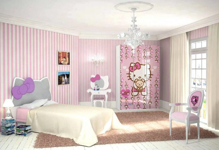 Pink and white striped walls hello kitty bedroom for for Pink and white wallpaper for a bedroom