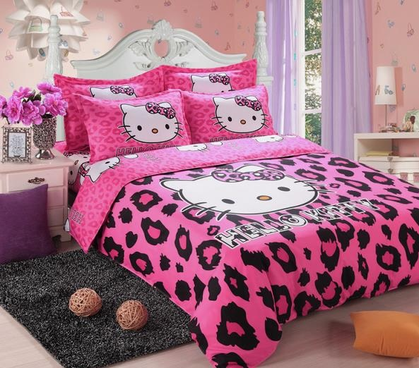 Pink And White With Vinyl Flooring Hello Kitty Bedroom For