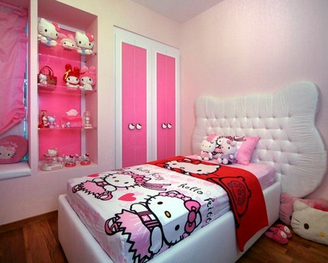 Pink And White With Wooden Floor Hello Kitty Bedroom For