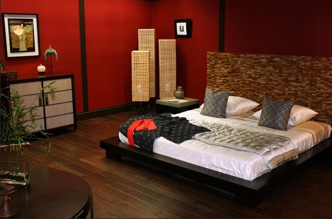 red japanese bedroom style with wooden flooring